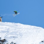 Andy Mahre 270 off the Mine Cart Rail during Slopestyle at Red Bull Cold Rush