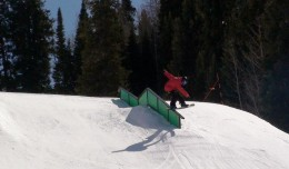 CBMST Athlete Thomas Taaca Greasing a Double Kink in the Cascade Terrain Park at CBMR.