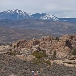 The boys rip though the high desert terrain while the West Elks look on from the distance.