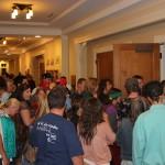 Large crowd entering the venue