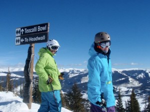 Photo: Nina Weyl | Hansee and good friend and former MSP team member Jesse Weyl skiing the extremes at Crested Butte.