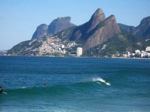 The Two Brothers seen from Ipanema Beach.