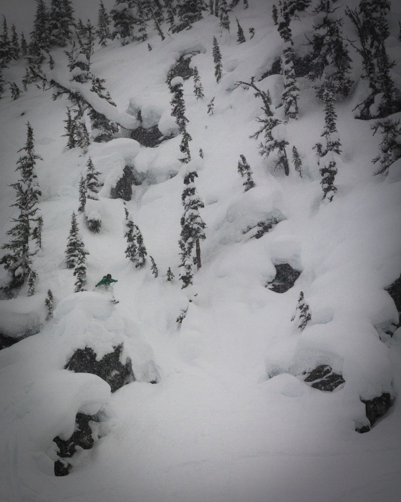 Silas Chickering-Ayers blending into a land of pillows at Revelstoke. Photo: Axel Peterson