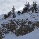 Ed airs off Knife Ridge with speed. Photo: Will Dujardin