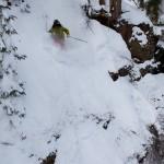 Matt Evans drops into a steep line in Waterfall. Photo: Will Dujardin