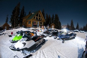 Our fleet of powder sleds awaiting their mission the next morning. Photo: Trent Bona