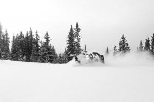 Rob Dickinson getting tipsy on his Arctic Cat M8. Photo: Trent Bona