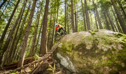 In the thick forest of Boulder Mountain outside of Revelstoke we found an amazing array of well built wood and rock features. Here Colin rolls a steep one.