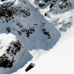 Drew Holbrook descends the 'Dark Couloir' on Mount Owen
