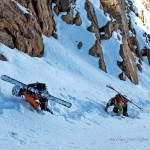 Josh Shifferley and Drew Holbrook climb a couloir on Mount Owen