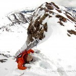 Starr Jamison climbs a couloir off of Purple Ridge