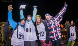 The top 3 skiers with Colorado Freeskier owner, Gabe Martin: Grant Spear, Scot Chrisman, and Alex Norton. Photo: Trent Bona