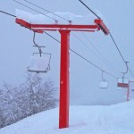 Heavy snow on the lifts.