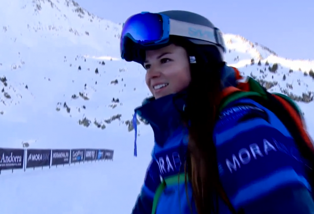Brittany was all smiles at the bottom of her FWJC run in Andorra.