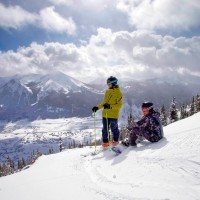 Model Released image of skiers and snowboarder in the first time for the public to ski the expansion of Crested Butte Mountain, Teo2. (Photo/Nathan Bilow)