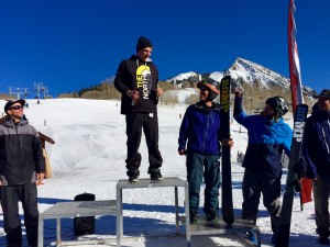Ryan Faye leading the 4-star Men's Ski podium, Griffin Dunne (not pictured) took 2nd, Mark Mikos in 3rd, Ryan Hoynacki in 4th, Will Dujardin in 5th, Teton Brown (not pictured) in 6th, and Max Kaupas in 7th.