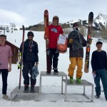 Grifen Moller on top of the 15-18 Ski Men podium with Kevin Nichols in 2nd, Aiden Pruett in 3rd, Jon Clay Patterson 4th, and Finn Andersson 5th.