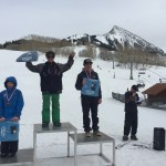 Dagan Schwartz won the 12-14 Boys Snowboard division with London Albrecht in 2nd and Seth Mossman in 3rd.