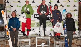 Jon Clay Patterson on top of the 15-18 Ski Men podium; he's 16.
