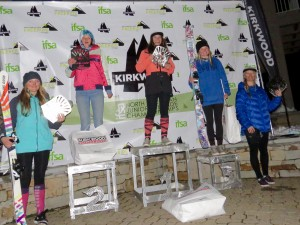 Avery Bernholtz and Ella Haverkampf in 1st and 5th, respectively, on the overall podium 12-14 ski girls.