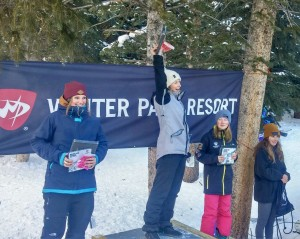 Darby Hamilton on top of the 15-18 Ski Women podium at Winter Park