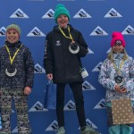 Aiya Schwartz and Addison Featherman in 2nd and 3rd, respectively, on the U12 girls ski podium at Vail.