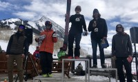 Kye Matlock in 1st, Jon Clay Patterson in 2nd, Holden Bradford in 3rd, Seve Petersen in 4th, Marko Alling in 5th on the 15-18 Ski Male Podium.