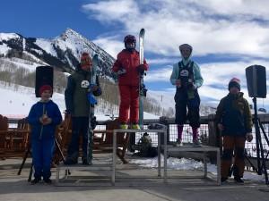 Tor Hudson in 1st, Cooper Wight in 2nd, Rowan Featherman in 3rd, Marin Gardner in 4th, Eli Nolan in 5th on 12-14 Ski Male podium.